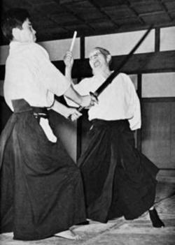 Ueshiba Morihei y Tamura Nobuyoshi.