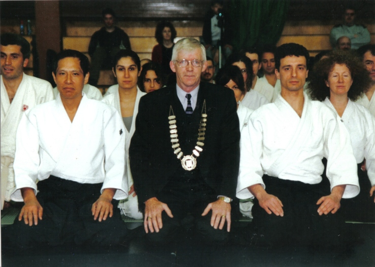 2001 - Sligo, Ireland - with Yoji Fujimoto Shihan and the Mayor of Sligo, Tommy Cummins