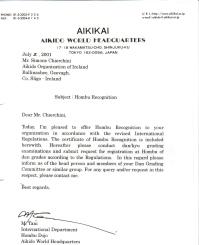 2001 - Aikikai Hombu letter of appointment