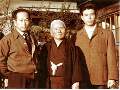 Gichin Funakoshi, Masatoshi Nakayama, Left, Teruyuki Okazaki, Right