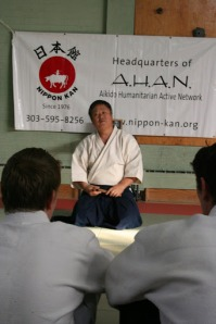 Gaku Homma waiting to start his Dublin seminar 0f 2007