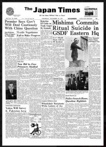 Il Japan Times annuncia il suicidio di Mishima