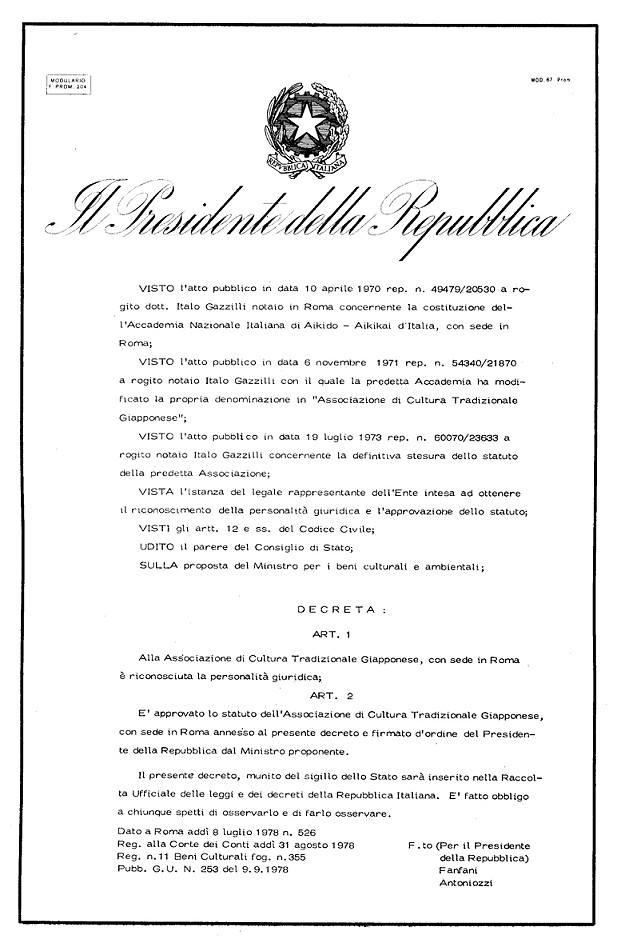 Aikikai d italia aikido italia network for Decreto presidente della repubblica