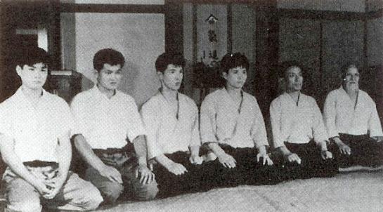 Hombu Dojo, 1959: right to left Morihei Ueshiba, Kisshomaru Ueshiba, Nobuyoshi Tamura, Masamichi Noro, Yoshio Kuroiwa, Kazuo Chiba